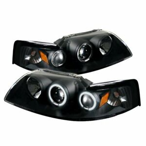 Spyder Projector Headlights Ccfl Halo Blk High H1 Low H1 99 04 Ford Mustang