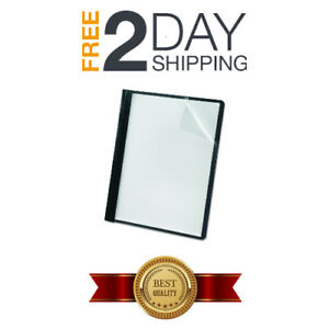 Premium Clear Front Report Covers Letter Size Concealed Metal Fasteners Black