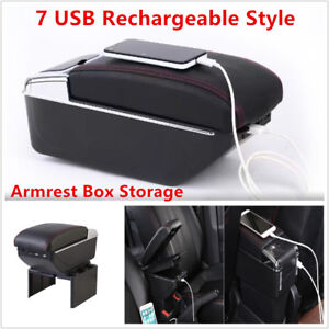 7 Usb Rechargeable Car Central Container Armrest Box Storage W Light Cup Holder