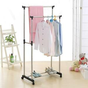 Rolling Clothes Rack Single double Rail Hanging Garment Bar Display Adjustable