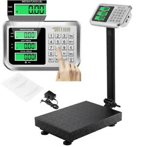 220lbs 100kg Lcd Digital Floor Scale Postal Shipping Platform Stainless Steel