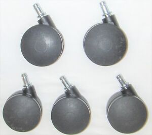 5 Heavy Duty 3 Casters Wheels Rolling Black Office Chair Replacement Computer