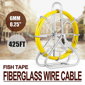 6mm X 425 Fish Tape Fiberglass Wire Cable 425 Push Rod Duct Sewer Newest