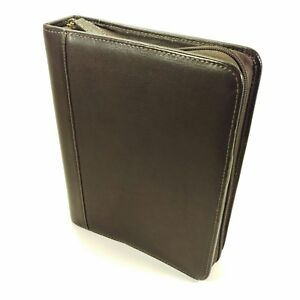 Franklin Covey Full Grain Brown Leather Classic Planner Zipper Binder