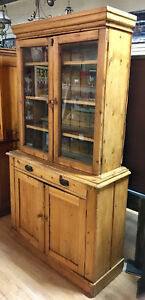 Vintage Primitive Pine Step Back Cabinet Two Piece Beautiful Patina 11271