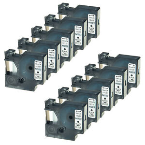 10pk 45022 Black On Silver Label Tape For Dymo D1 Labelmanager 220p 12mm 1 2