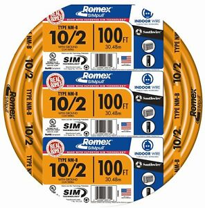 Southwire 28829028 Non metallic Building Wire 10 2 nmwg 100