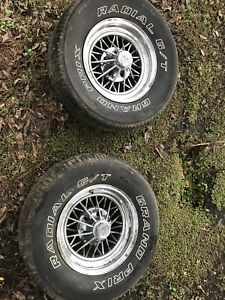 2 Old School Vintage Cragar Wire Wheels 15 Inch