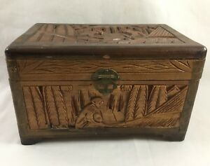 Vintage Hand Carved Nailed Storage Box Primitive Jewelry Trinket Cigar