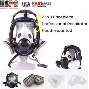 New 7 In 1 Facepiece Respirator Painting Spraying Gas Mask Set For 3m 6800 Face