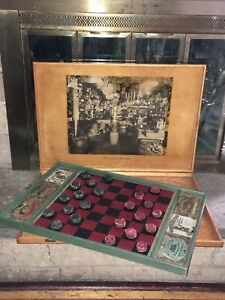 Aafa Antique Primitive Wooden Gameboard Checkerboard Hand Painted Advertising