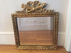 Antique French Gilt Over Carved Wood Mirror Style Louis Xiv