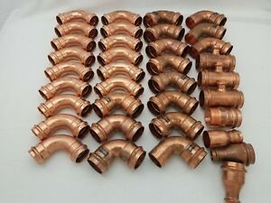 lot Of 36 1 1 4 1 1 2 Propress Copper Fittings Elbow Tee Adapters Viega