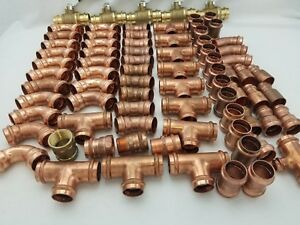 lot Of 79 1 Press Copper Elbows Tees Reducers Couplings Press Fittings
