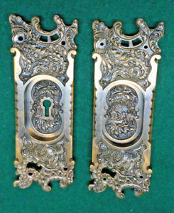 Rare Belforte Reading Hardware Cast Bronze Pocket Door Plate Set 10331
