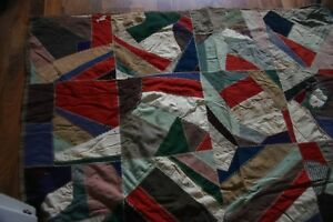 Antique Early 1900 S Patchwork Crazy Quilt Wool Cotton Silk 68 X 73