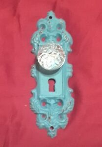 One Cast Iron Decorative Door Plates Swirl Knobs Teal Gold Highlights