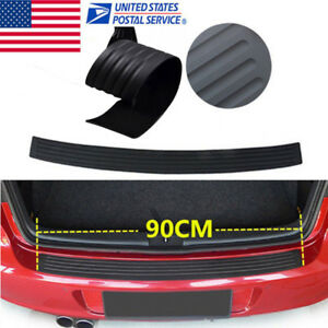 1x Black Rear Bumper Sill Protector Plate Rubber Cover Guard Pad Trim For Bmw