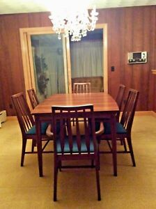 Vintage Mid Century Modern Dining Set Table 3 Leafs 6 Chairs W Fabric Euc