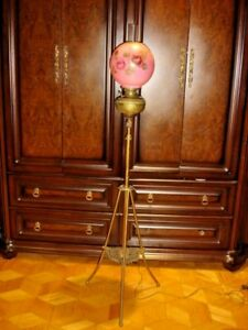 Antique Brass Piano Organ Floor Lamp Hand Blow Glass Shade