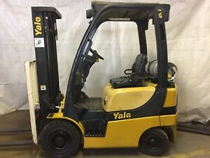 2009 Yale 4000 Forklift Solid Pneumatic Tires 2 Stage Lp Glp040
