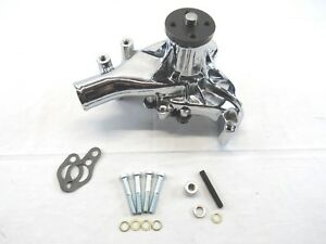 Sbc 350 Chevy Aluminum Long Reverse Rotation Water Pump Chrome Bpk 1013c