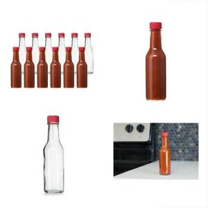 24 Food Dispensers Pack 5 Oz Hot Sauce Bottles Small Empty Glass With Red And