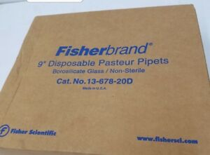 Fisherbrand 13 678 20d 9 Disposable Pasteur Pipets Box Of 200 New