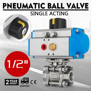 1 2 Pneumatic Ball Valve Single Acting 3 Pieces Air Actuated Gas Stainless