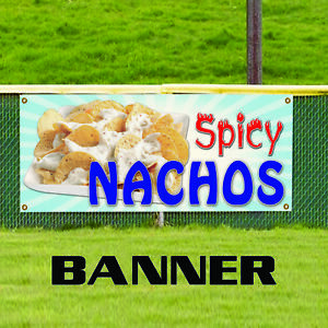 Spicy Nachos Cheese Chips Mexican Food Indoor Outdoor Vinyl Banner Sign