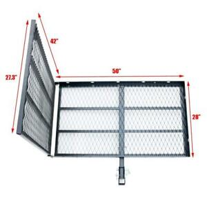 Hitch Mounted Steel Cargo Carrier With Ramp Folding Cargo Rack Rear