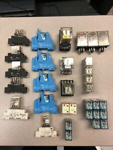 Lot Of Omron Finder Automation Direct Schneider Relays And Some Sockets