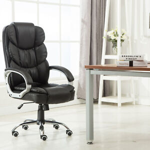 High Back Pu Black Executive Leather Office Chair Desk Task Computer Boss Luxury