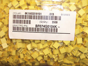 Qty 2500 1uf 250v 10 Mini Box Metallized Film Capacitors Bf074g0104k Tpc
