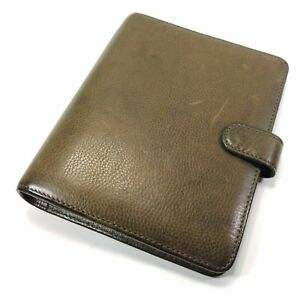 Franklin Covey Compact Green Leather Planner Binder Organizer