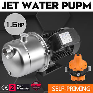 1 6hp Jet Water Pump W pressure Switch Self priming 70 L h Farms Stainless