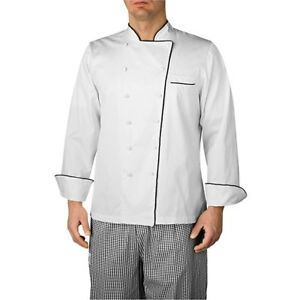 Wholesale Chefwear Long Sleeve Black piped Executive Chef Jacket Xl