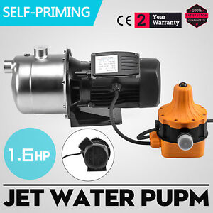 1 6hp Jet Water Pump W pressure Switch Self priming Farms Stainless Booster