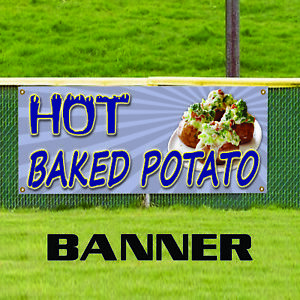 Hot Baked Potato Idaho Fresh Bacon Cheese Indoor Outdoor Vinyl Banner Sign