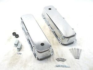 Big Block Chevy Smooth Aluminum Valve Covers W Hole Tall 454 Chrome Bpe 2103c
