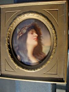 Antique Dresden Portrait Porcelain Plaque Painting
