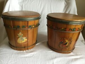 Antique Vintage Wooden Bucket Pail Handpainted Primative Metal Bands