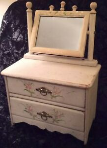 Antique Hand Painted Wood Jewelry Box Chest Swivel Mirror 2 Drawer Shabby Chic