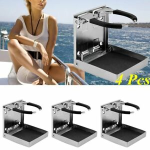 4pcs Stainless Steel Adjustable Folding Cup Drink Holder Marine Boat Caravan Bt