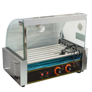 18 Hot Dog 7 Roller Grill Cooker Machine W Protective Guard Commercial Home Use