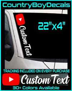 Youtube Custom Text Handle 22 Vinyl Decal Sticker Windshield Gaming Car Truck