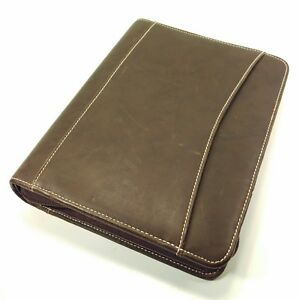 Franklin Covey Distressed Leather Brown Classic Planner Zip Binder Organizer