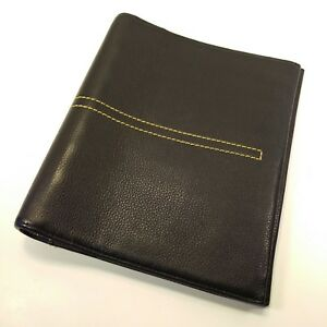 Franklin Covey Classic Black Leather Unstructured Planner Binder Or