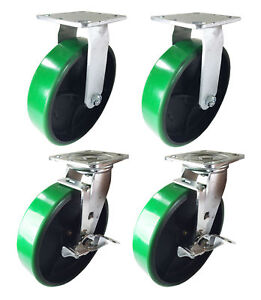 4 Heavy Duty Caster 8 Polyurethane Cast Iron Wheels Rigid Swivel