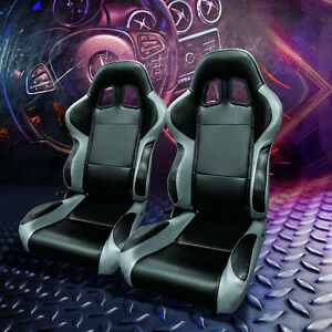 Full Reclinable Left right Pair Black gray Pvc Leather Bucket Racing Seats rails